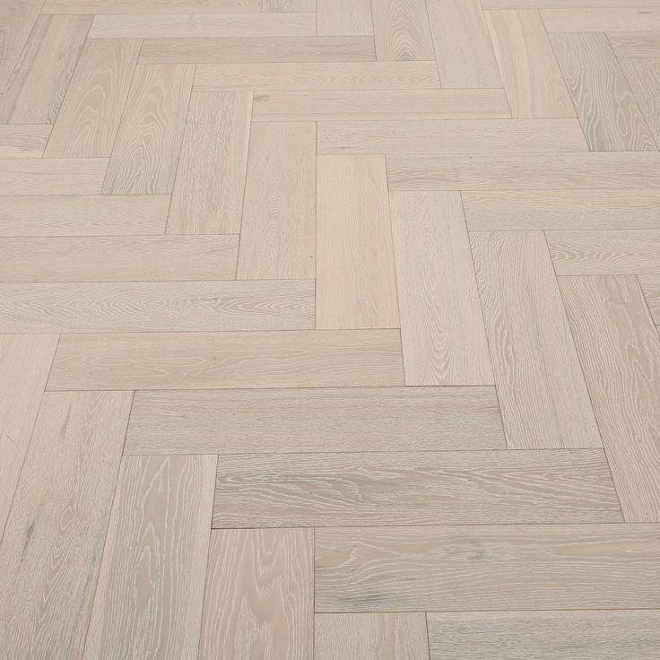 Whitewashed Herringbone Oak Brushed & Lacquered Engineered Wood Flooring Sliding Card Image