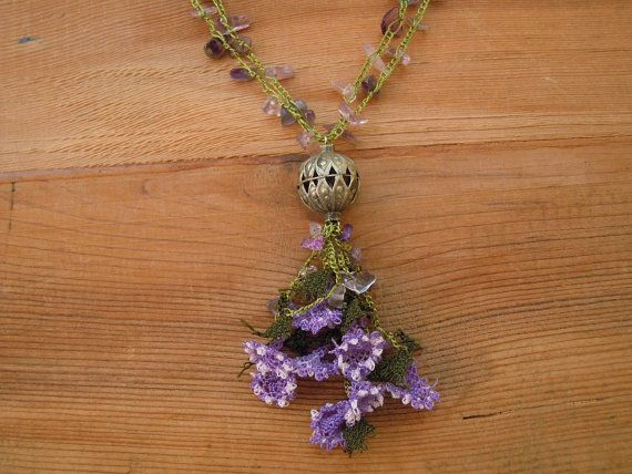 lilac  necklace crochet needle lace flowers by PashaBodrum on Etsy, $25.00