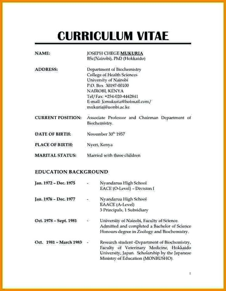 image result for normal resume format