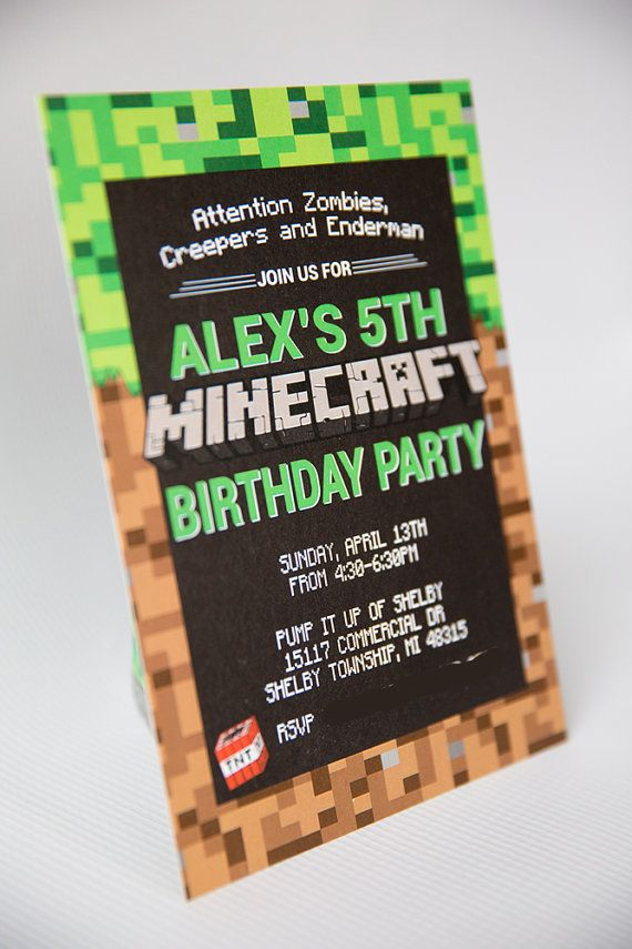 Mincraft Invitation - Printable or Printed Minecraft Party Invitation by 505 Design Inc