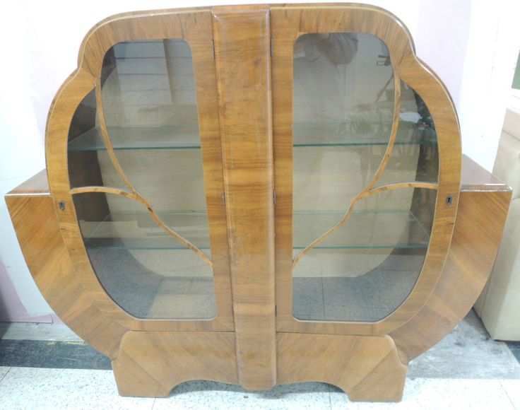 Vintage Art Deco Style Walnut Veneer Glass Front Display / Curio Cabinet - K22