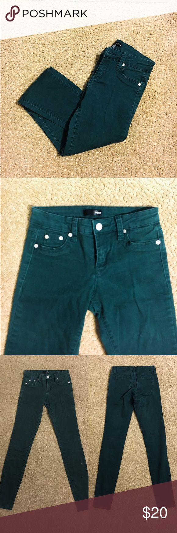 Aqua Brand Hunter Green Skinny Jeans || Size 24 These hunter green jeans are so comfortable they almost feel like jeggings.  The hunter green color is on trend this fall, and these jeans are definitely a bargain! Aqua, a brand sold almost exclusively at Bloomingdales produces high quality comfortable clothing. The jeans show a little fading towards the waistband and belt loops but will be covered by a shirt, the rest of the pants are in great shape.  Size 24, true to size. Aqua Jeans Skinny