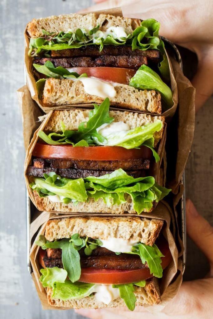 Vegan BLT Sandwich with Aquafaba Mayo - healthy vegan sandwich recipes for lunch that are easy for kids // vegan sandwich ideas // back to school work