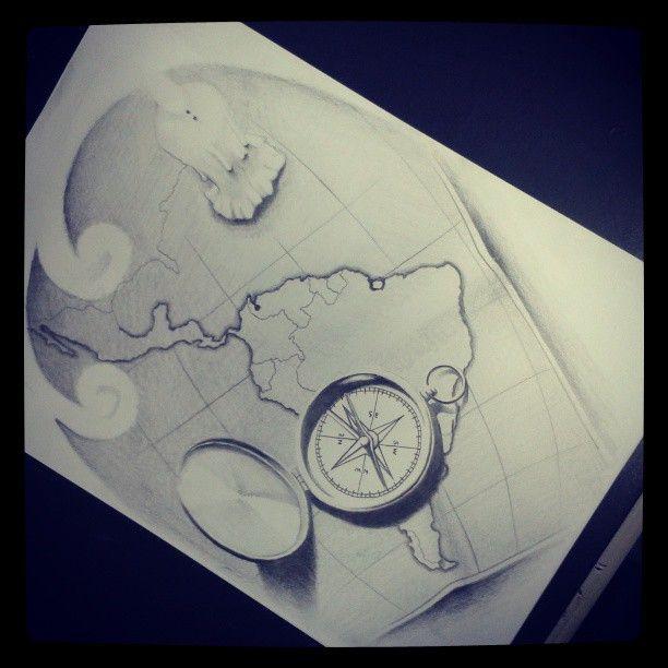 Realismo inanimado mas situado em luz e sombra e textura. Estudo para tatuagem.