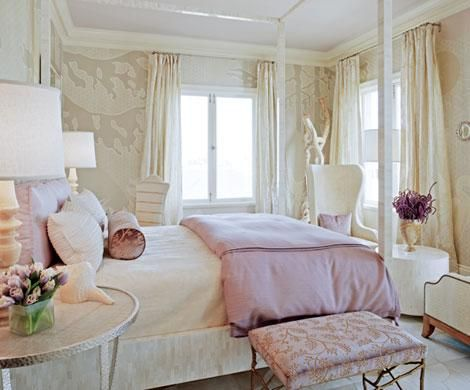 Best Girl S Rooms Neutral Beige Ivory Wallpaper And Curtains 400 x 300