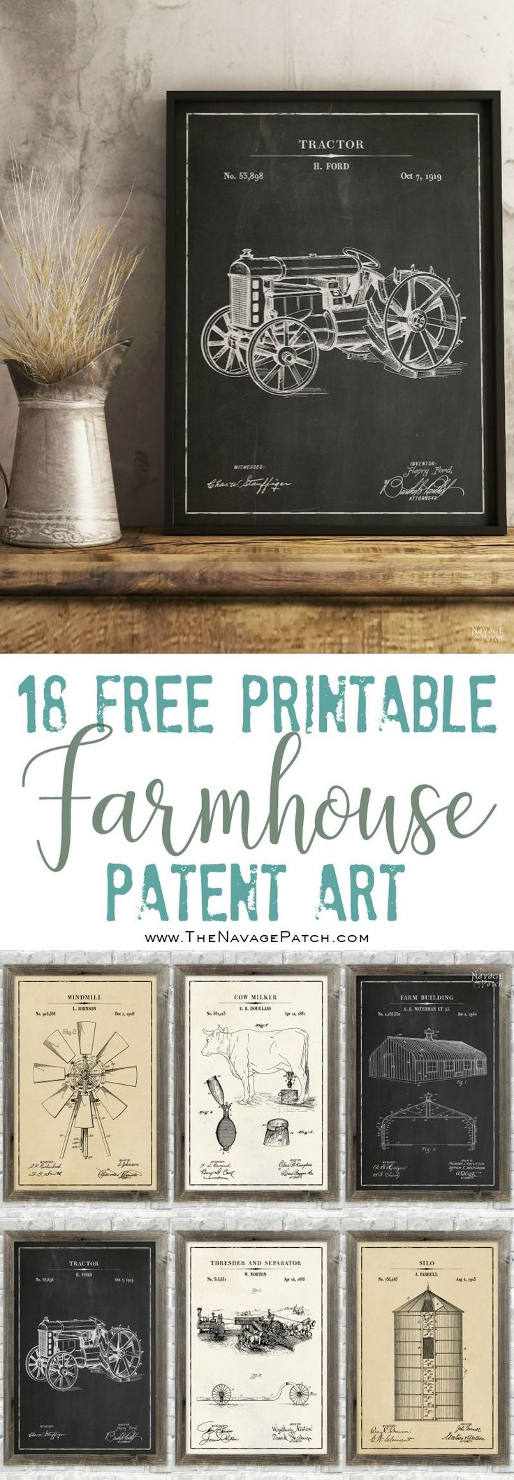 Farmhouse Patent Art and Surprise Bonus Printables | 18 free printable high-resolution Farmhouse Patent Wall Art