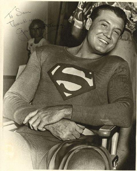 George Reeves as Superman, behind the scenes.