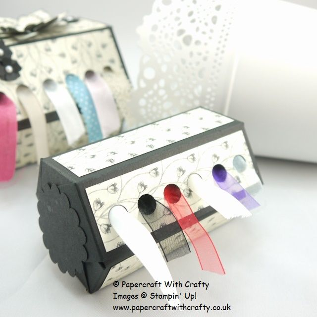 Ribbon Dispensers. Stampin' Up! http://www.papercraftwithcrafty.co.uk/2015/08/ribbon-dispenser.html