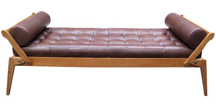 Jean René Caillette Leather Daybed for Charron 1952 | From a unique collection of antique and modern chaises longues at http://www.1stdibs.com/furniture/seating/chaises-longues/