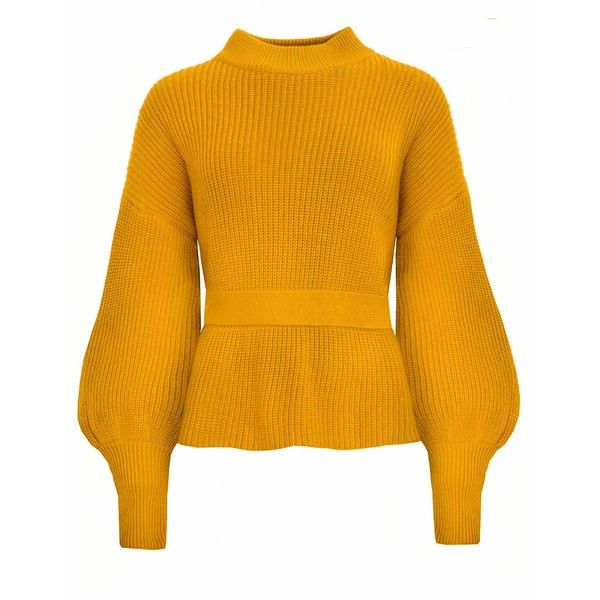 Laurel Mustard Open Back Belted Sweater ($128) ❤ liked on Polyvore featuring tops, sweaters, open back sweater, orange top, mustard yellow sweater, belted top and orange sweaters