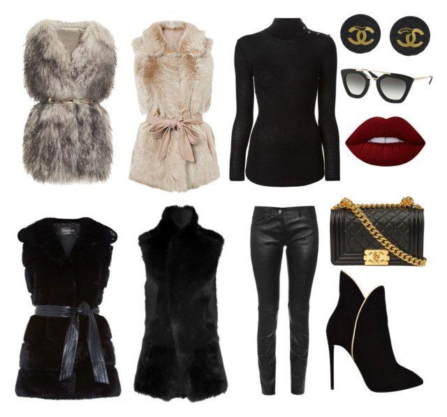 """""""Fur/+GileT"""" by aliciak60 on Polyvore featuring PINGHE, Harrods, Balenciaga, Balmain, Giuseppe Zanotti, Chanel, Prada and Lime Crime"""