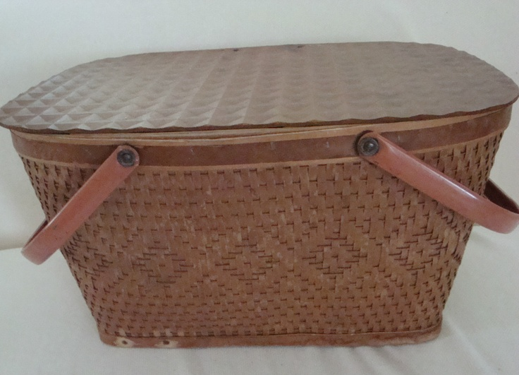 Vintage peru ind red mon woven picnic basket with for Crate and barrel peru