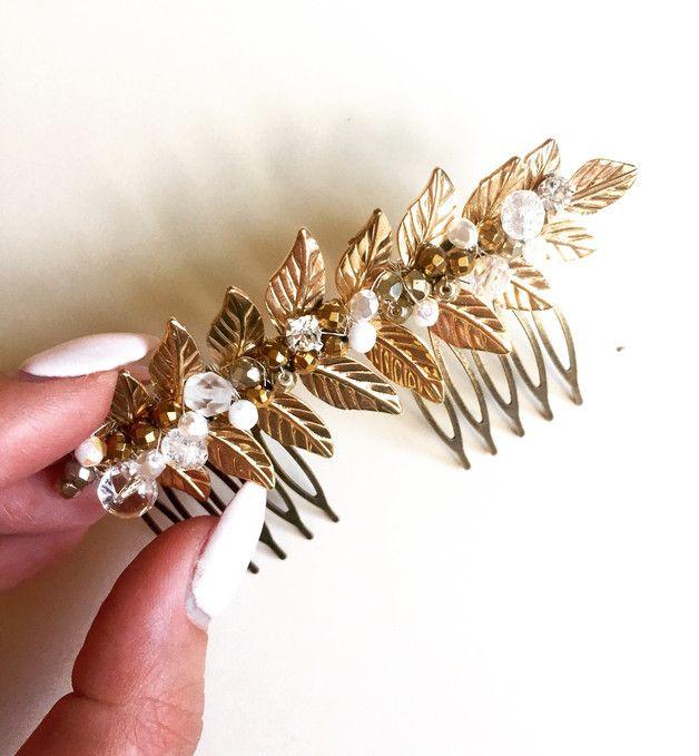 złoty grzebyk do włosów - ślub wesele - handmadebykicia - Opaski do włosów