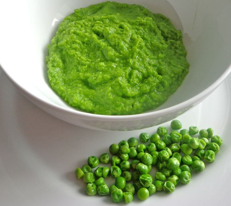 Peas - 1 bag frozen peas  Cook per directions on bag, however try to retain bright green color. Add to food processor, and puree until smooth.