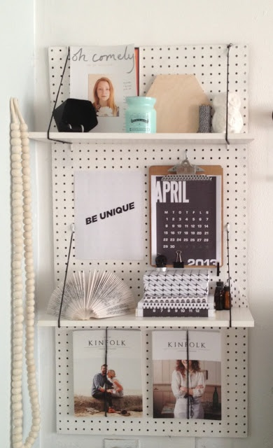 DIY shelf; this could also have a large lower shelf to act as a desk (with braces underneath)