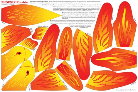Phoenix Plushie Pattern fabric by aliceio on Spoonflower - custom fabric