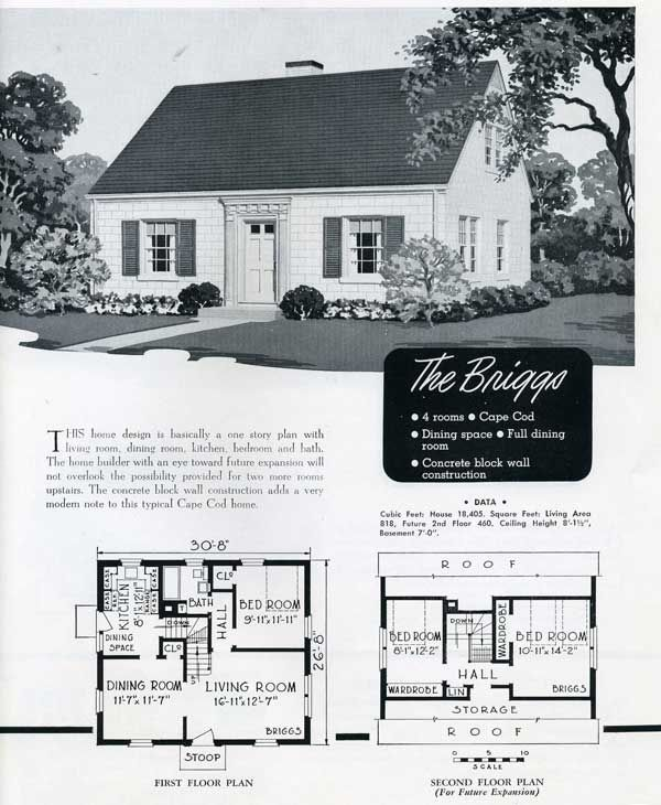 1949 National Homes The Briggs Dream Home Pinterest Vintage House Plans House And