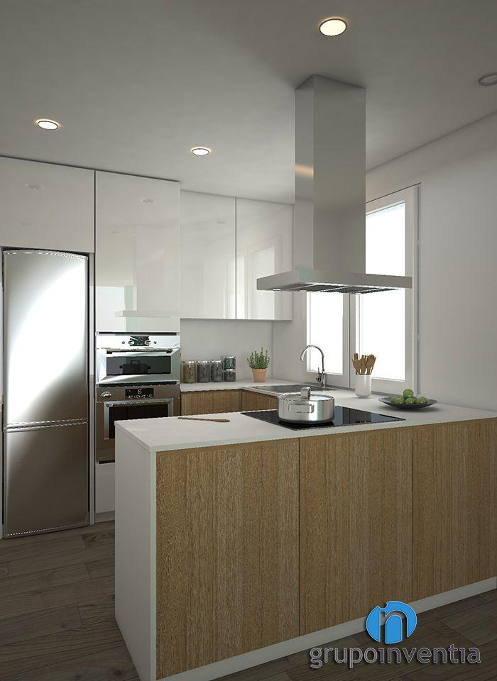La #reforma de #cocina será abierta al #comedor. #interiorismo #3D #Barcelona #kitchen