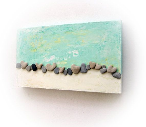 Unique Home Decor - One Of A Kind 3D Art Wall decoration - genuine Heart shaped Beach rocks on Etsy, $69.00