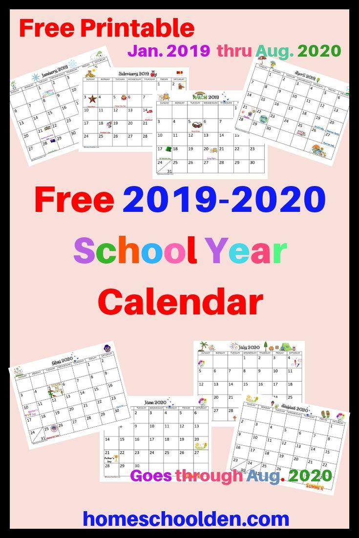 Free 2019 2020 Calendar Printable School Calendar Printables