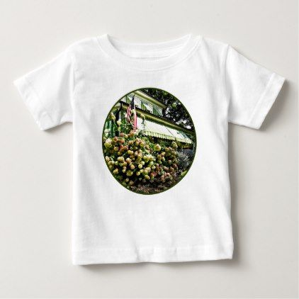#White Hydrangeas By Green Striped Awning Baby T-Shirt - #floral #gifts #flower #flowers