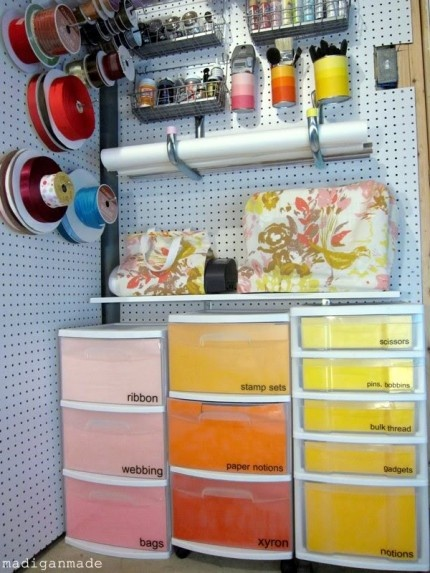 Great idea-put paper in front of the drawers so you can't see the mess inside!!