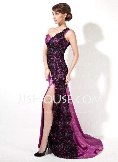 Evening Dresses - $160.49 - Sheath One-Shoulder Sweep Train Charmeuse Lace Evening Dress With Ruffle (017025913) http://jjshouse.com/Sheath-One-Shoulder-Sweep-Train-Charmeuse-Lace-Evening-Dress-With-Ruffle-017025913-g25913