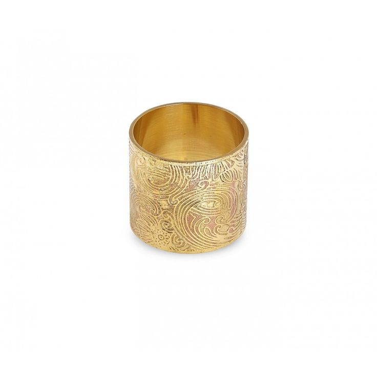 Romilly Napkin Ring. Polished brass with embossed pattern.