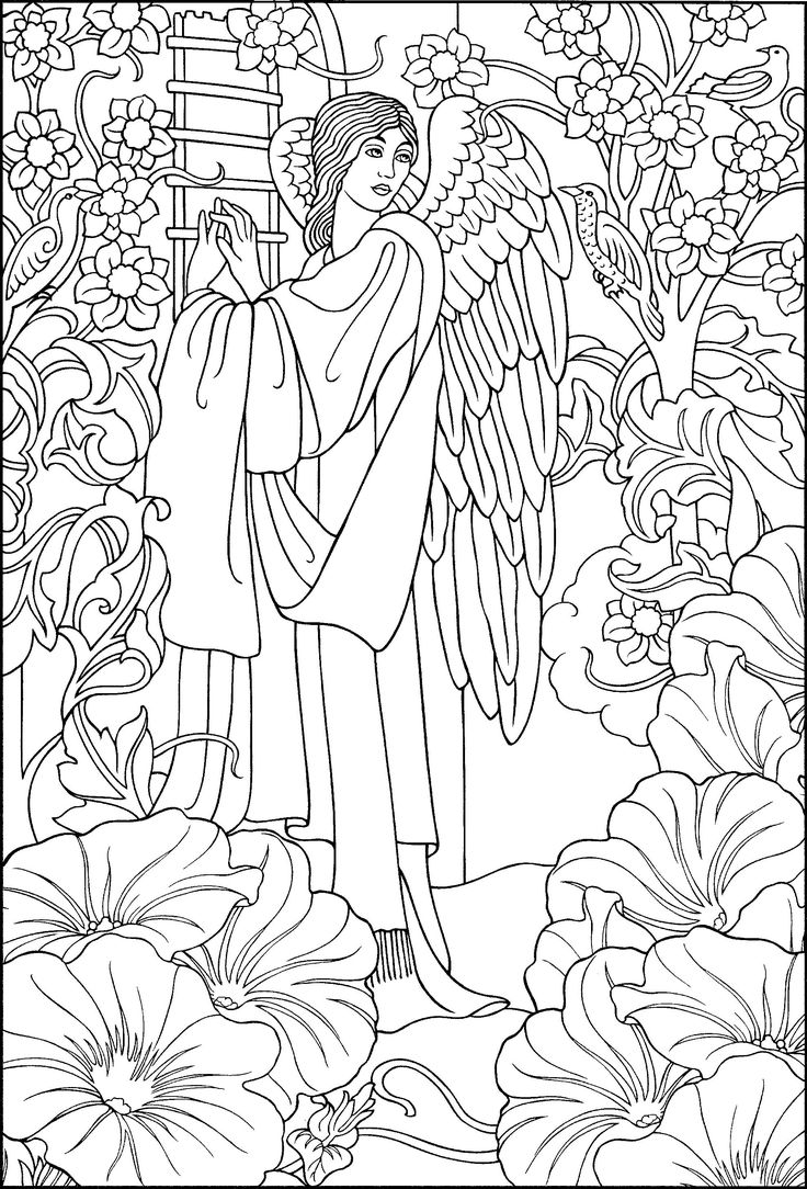 Coloring pages angels - Beautiful Angel Coloring Page