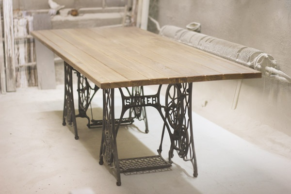 Singer sewing table base - converted into a dining room table. LOVE!!!