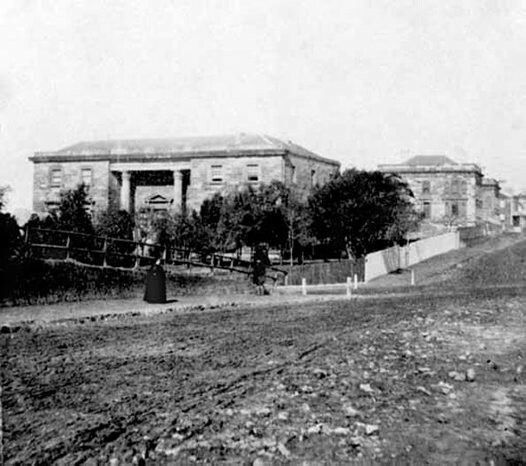 The first known photo of the Australian Museum on College St,Sydney in 1855.