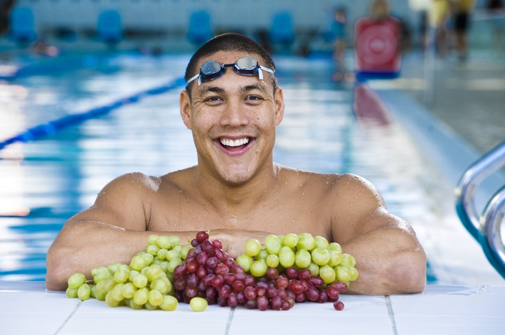 Geoff Huegill also likes to stay in grape shape. Our serving suggestion - they taste even better without chlorine
