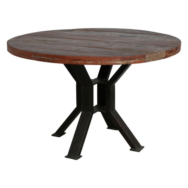 Reclaimed Wood Large Round 120 Cm Dining Tables For Pub
