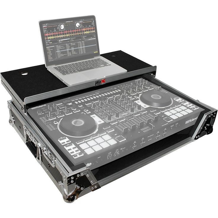 ProX XS-DJ808WLTBL Black ATA Style Flight Road Case with Wheels for Roland DJ-808 and Denon MC7000 Black/Chrome