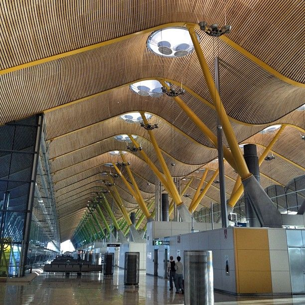 Madrid Airport - The amazing bamboo roof of the Madrid Airport - Terminal 4. Our first amazing architectural sight and many more to come. Met by sunshine and 12 degrees. Almost summery.