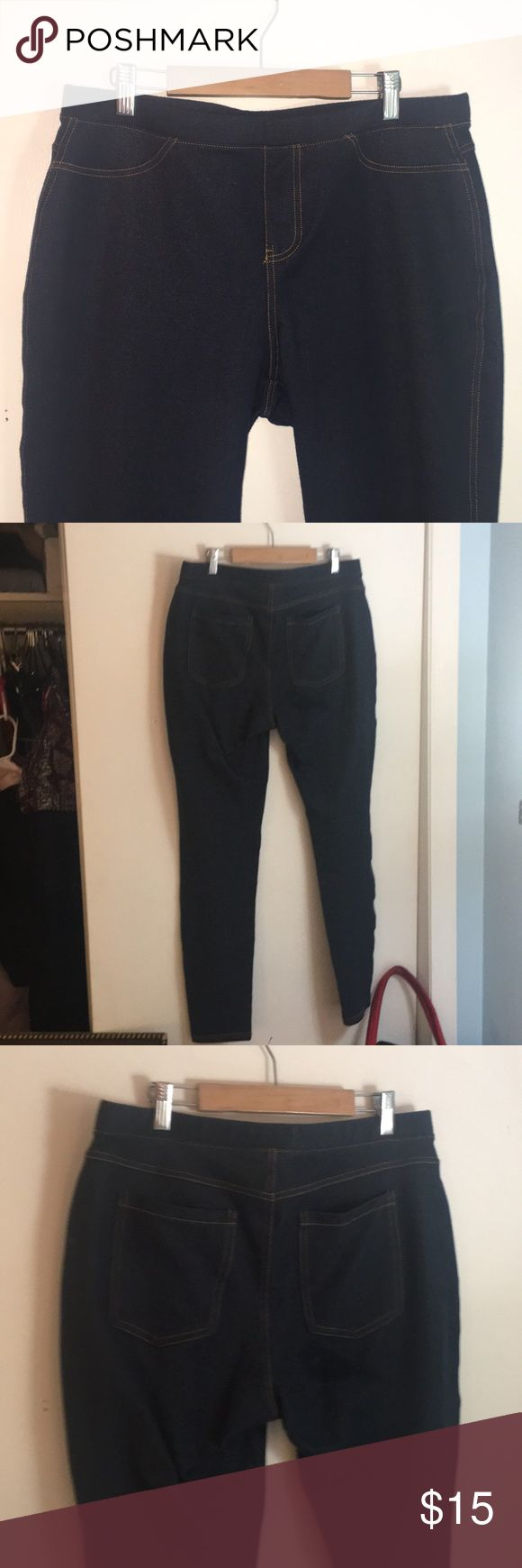 "skinny jean leggings w back pockets 78% cotton 19% polyester 3% spandex dark blue denim skinny skins. two back pockets and two front ""faux pockets"". ankle length. elastic waist. inseam approximately 30.5"". very forgiving pants!!! as well as SUPER COMFORTABLE!!! Jeans Skinny"
