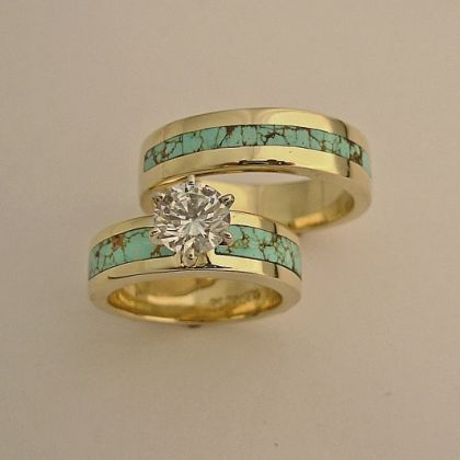 Gold And Turquoise Wedding Rings | Wedding Engagement Rings, southwest wedding rings , turquoise wedding ...