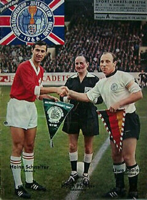 West Germany 5 Switzerland 0 in 1966 at Hillsborough. Captains, Heinz Schneiter and Uwe Seeler, meet before the Group 2 match at the World Cup Finals.