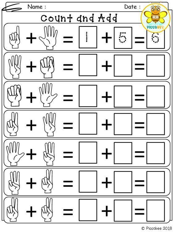 Math Number Addition Kindergarten Math Worksheets