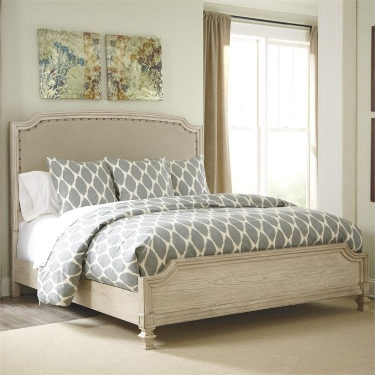 Lowest price online on all Ashley Demarlos Upholstered King Panel Bed in Parchment - B693-76-78-97-KIT