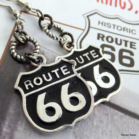 Get Your Kicks Again Earrings  Route 66 Charms by MangoTease $11.00