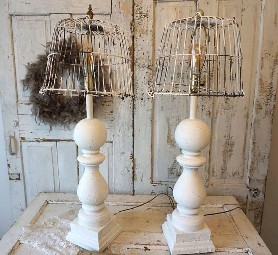 Check out White baluster table lamp set shabby cottage chic salvaged basket lampshade lighting distressed French Nordic home decor anita spero design on anitasperodesign