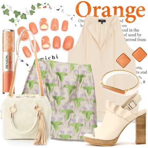 #オレンジネイル #ベージュオレンジ #ノースリーブブラウス #台形スカート #リーフモチーフのコーディネート詳細[No.3523691]