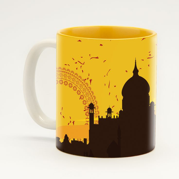 Yellow Monument Mug - Make sure your next social gathering is monumental with this charming mug collection from Ringmaster, which pays homage to the breathtakingly beautiful Taj Mahal – the iconic symbol of love and devotion. Buy a matching set for that special who makes every morning magical.