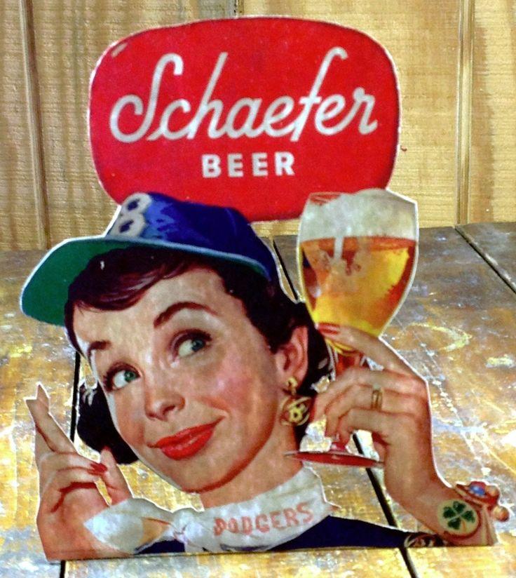 Shaefer Beer Dodgers MLB Major League Baseball Fan Lady Holding Glass Store Sign | eBay