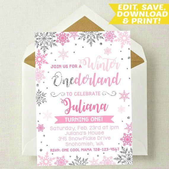 editable winter onederland invitation
