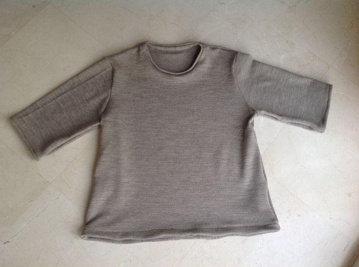 Pull beige manches 3/4 fait avec un très beau jersey de mondial tissus