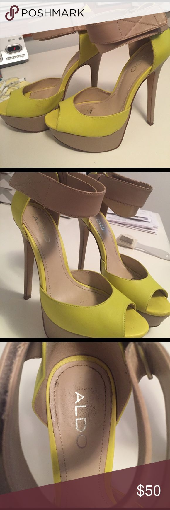 "Aldo neon green pumps These look great with an all white or nude outfit! 4.5"" heels Aldo Shoes Heels"
