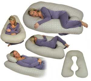 "Full-body pillows. They are in the shape of the letter ""U,"" meant to fit around a person's sides and provide a place to rest the head. Full-body pillows are also used in many convalescent homes for confused patients who tend to rise out of bed and are at risk of falling, due to lack of motor skills."