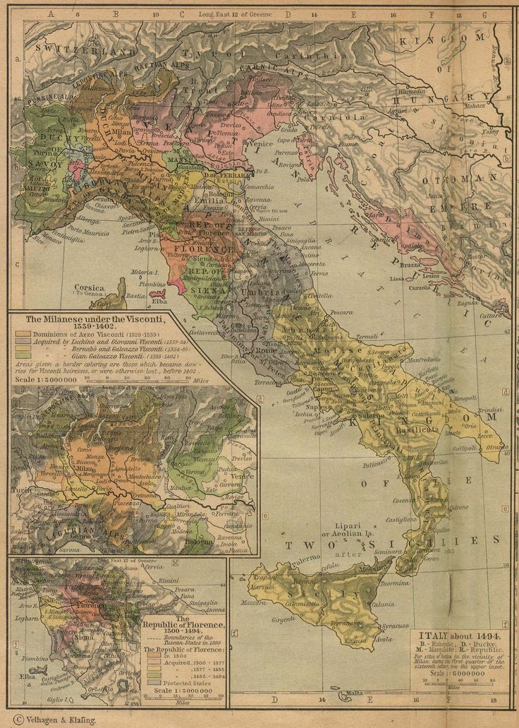 Historical Maps of Europe. Italy about 1494:  Insets: The Milanese under the Visconti, 1339-1402. The Republic of Florence, 1300-1494. From The Historical Atlas by William R. Shepherd, 1923.